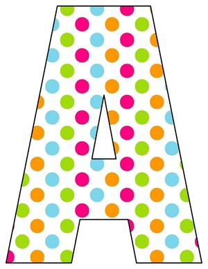 8X10.5  Inch Rainbow Dot Printable Letters A-Z, 0-9