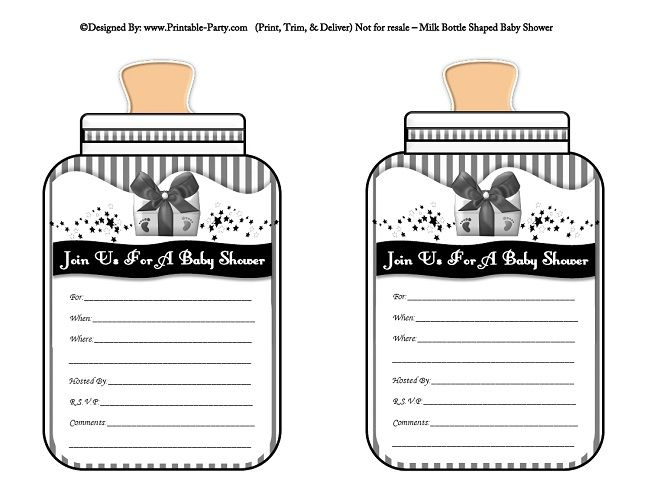 image relating to Printable Shower Invitations named printable-black-gray-toddlers-bottle-formed-boy or girl-shower-invites
