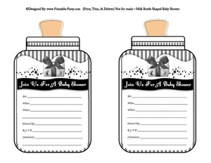 printable-black-grey-babies-bottle-shaped-baby-shower-invitations
