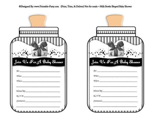 printable-black-grey-babies-bottle-shaped-baby-shower-invitations