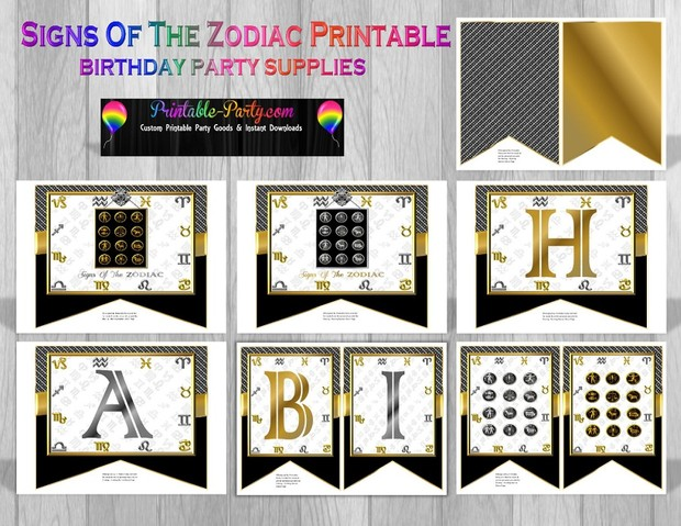 Zodiac Sign Themed Printable Party Supplies