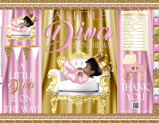 graphic relating to Printable Chip Bags known as printable-chip-baggage-royal-princess-pinkgold-african-kid-shower03