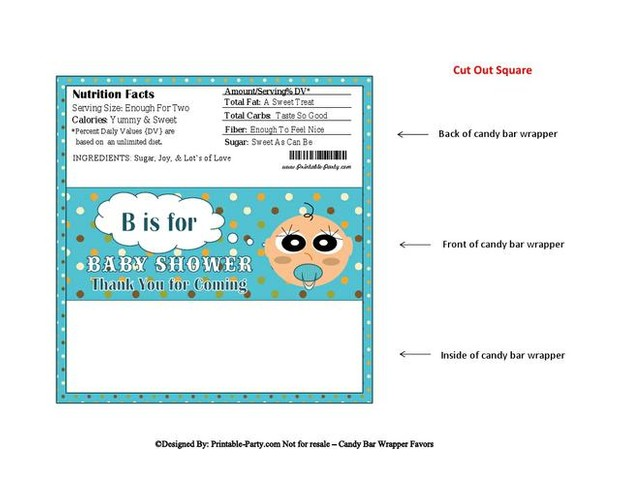 Blue Dots Boy Baby Shower Candy Wrapper Favor