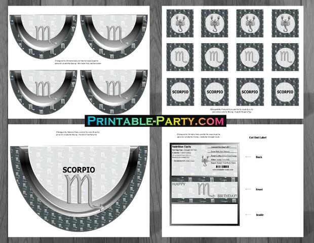 Printable Scorpio Party Supplies Grey and Black