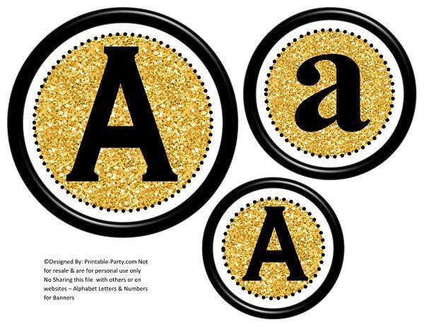 graphic regarding Printable Letters and Numbers named 6-inch-black-gold-glitter-circle-printable-banner-letters-quantities-a-z-0-9