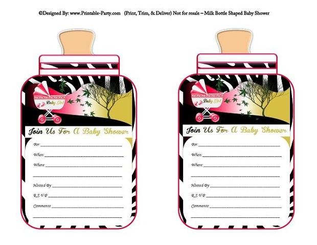 printable-hot-pink-black-zebra-carriage-stroller-girl-baby-bottle-shaped-baby-shower-invitations