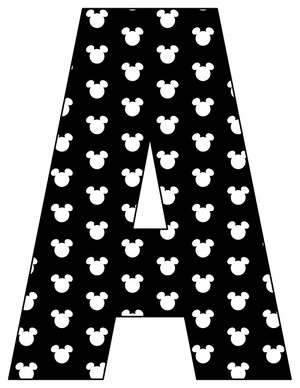 8X10.5  Inch Black White Mouse Head Printable Letters A-Z, 0-9