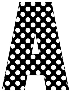 8X10.5  Inch Black White Dot Printable Letters A-Z, 0-9