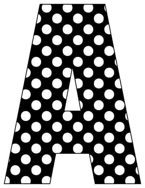 8X10.5  Inch Black White Dot Printable Letters A-Z, 0-9