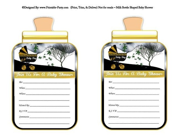 printable-gold-black-carriage-stroller-boys-baby-bottle-shaped-baby-shower-invitations