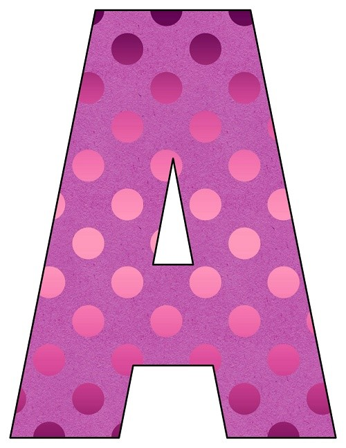 8X10.5  Inch Pink Foil Dots Printable Letters A-Z, 0-9