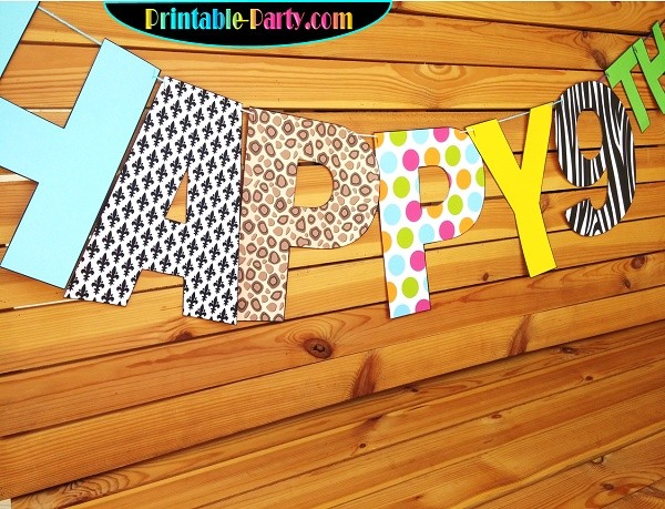 8X10.5  Inch Blue Peach Green Stripes Printable Letters A-Z, 0-9
