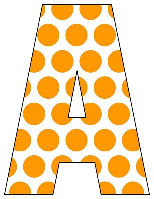 8X10.5  Inch Orange Big Polka Dot  Printable Letters A-Z, 0-9