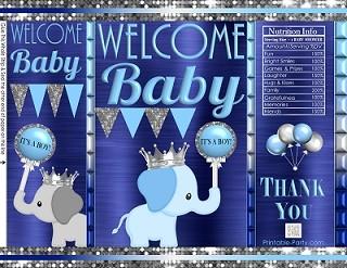printable-potato-chip-bags-baby-shower-prince-boy-elephant-navy-LIGHT-blue-silver