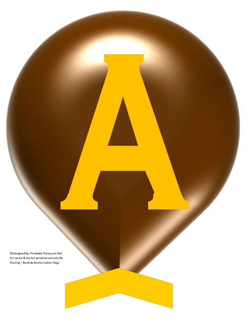 graphic about Large Printable Letters for Banners identify Superior-BROWN-YELLOW-BALLOON-PRINTABLE-BANNER-LETTERS-A-Z-0-9