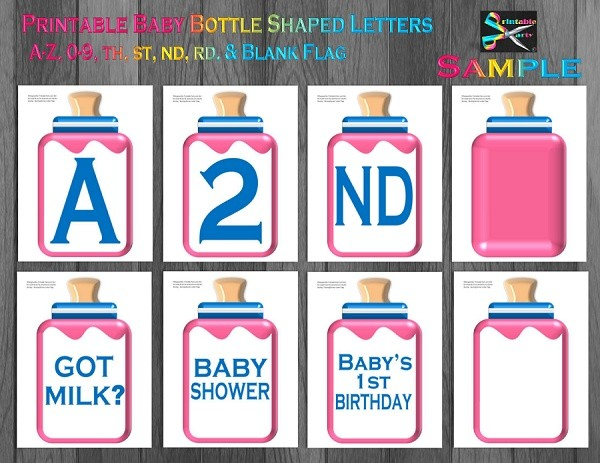 LARGE-YELLOW-BLACK-BABY-BOTTLE-BANNER-LETTERS