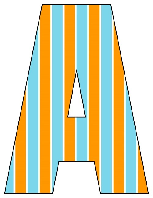 8X10.5  Inch Orange Aqua Vertical Stripe Printable Letters A-Z, 0-9