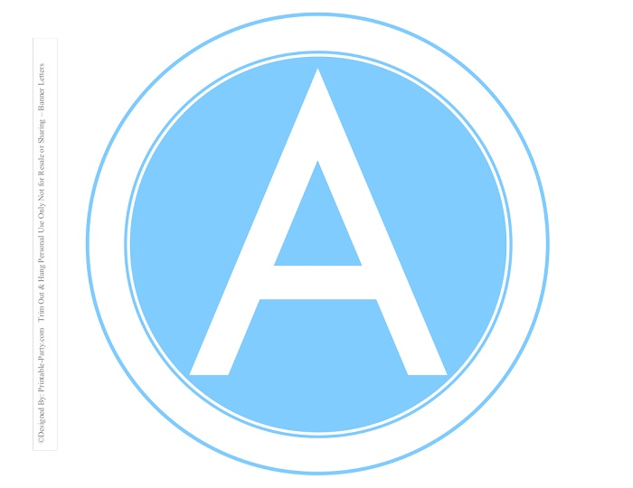 photograph relating to Printable Letters for Banner titled 8-INCH-WHITE-Light-weight-BLUE-CIRCLE-PRINTABLE-BANNER-LETTERS-A-Z-0-9