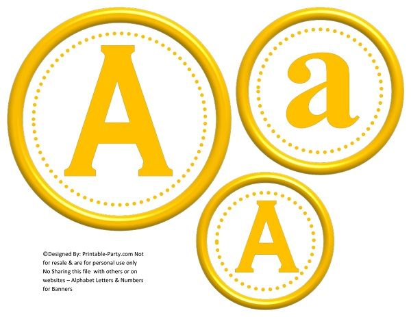 image relating to Printable Numbers 0-9 named 6-inch-yellow-circle-printable-banner-letters-figures-a-z-0-9