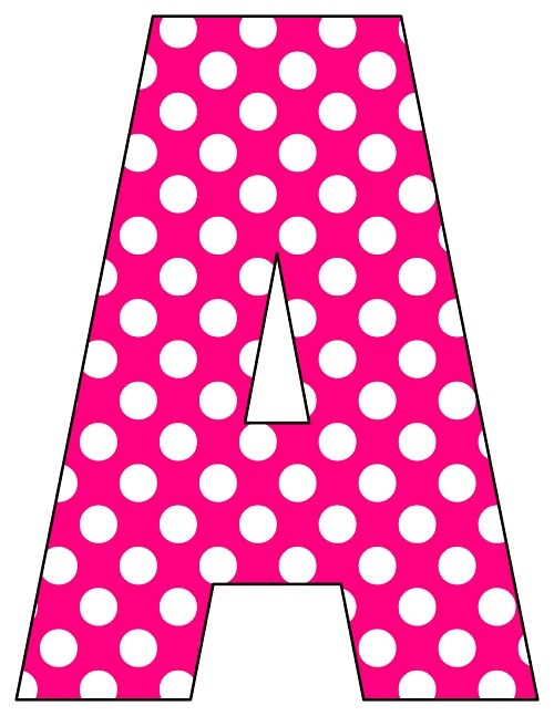 8X10.5  Inch Hot Pink Dot Printable Letters A-Z, 0-9
