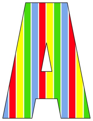 8X10.5  Inch Red Blue Green Yellow Stripe Printable Letters A-Z, 0-9
