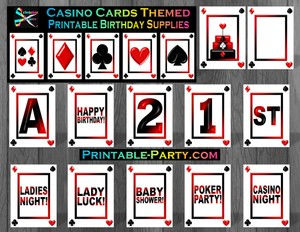 Casino Night Poker Card Printable Birthday Party Supplies