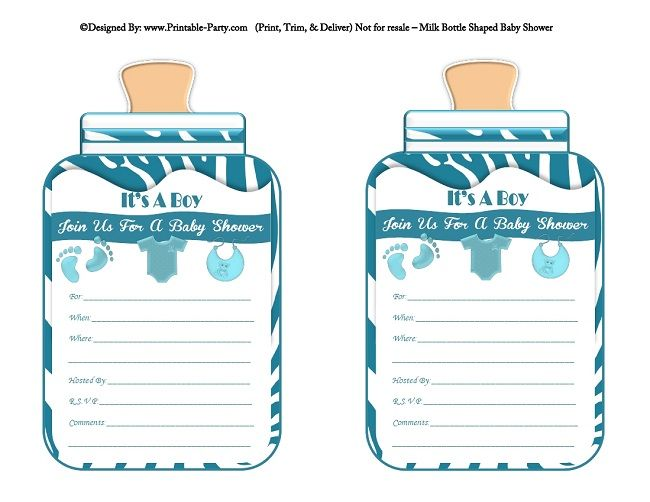 photo relating to Printable Shower Invitations named printable-blue-zebra-ft-boy-boy or girl-bottle-fashioned-boy or girl-shower-invites