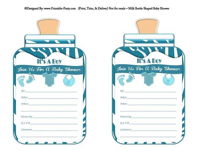 picture about Printable Shower Invitations identify printable-blue-zebra-ft-boy-little one-bottle-formed-kid-shower-invites