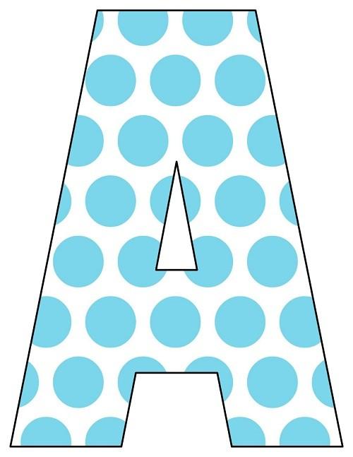 8X10.5  Inch Aqua Big Dots Printable Letters A-Z, 0-9