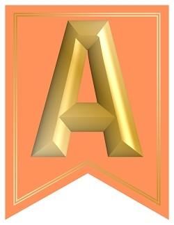 SWALLOWTAIL-PRINTABLE-ALPHABET-BANNER-LETTERS-LIGHT ORANGE-GOLD
