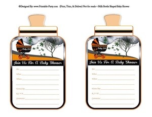 printable-orange-black-carriage-stroller-baby-girl-babies-bottle-shaped-baby-shower-invitations