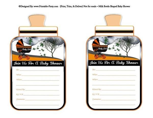 printable-orange-black-carriage-stroller-baby-girl-babies-bottle-shaped-baby-shower-invitations