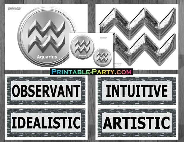 Aquarius Grey & Black Themed Printable Party Supply