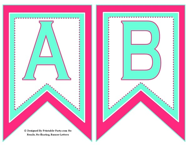 photograph about Printable Alphabet Banner identified as 5-inch-swallowtail-red-aqua-inexperienced-printable-banner-letters-a-z-0-9