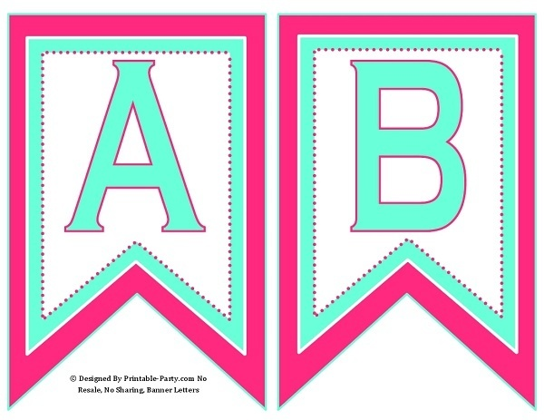 5 inch swallowtail pink aqua green printable banner