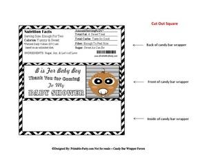 Black Chevron Stripes Baby Shower Candy Bar Wrapper Favor