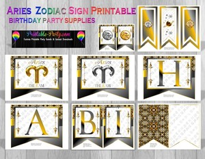 Aries Printable Zodiac Sign Party Supplies