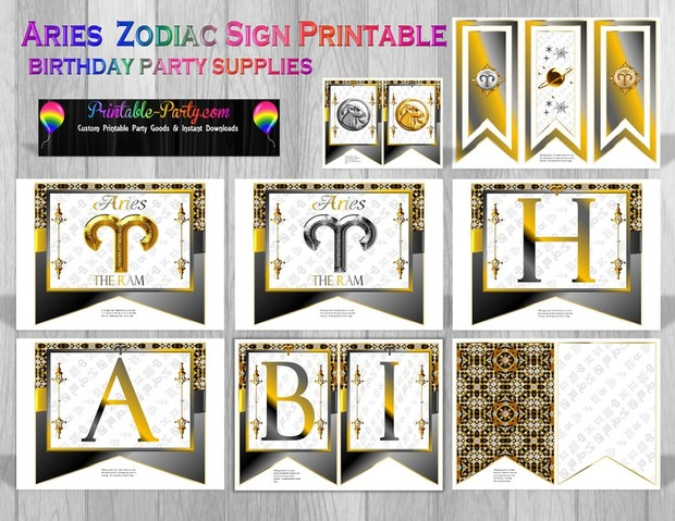Aries Printable Zodiac Sign Party Supplies
