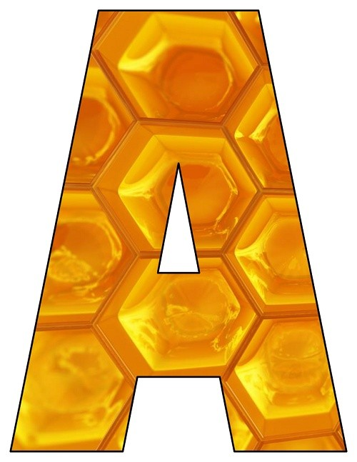8X10.5  Inch Honeycomb Printable Letters A-Z, 0-9