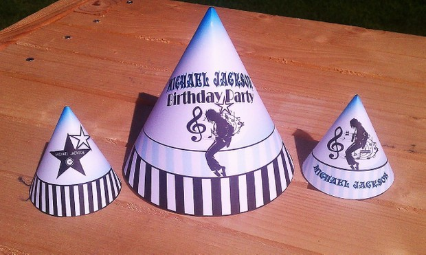 Michael Jackson Printable Party Supplies Hats Aqua