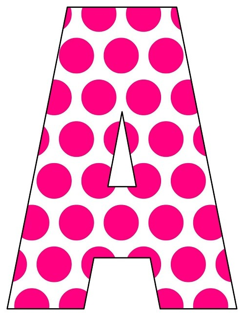8X10.5  Inch Hot Pink Big Polka Dot Printable Letters A-Z, 0-9