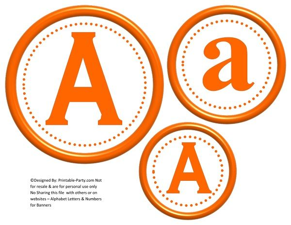 image relating to Printable Letters and Numbers identified as 6-inch-orange-circle-printable-banner-letters-quantities-a-z-0-9