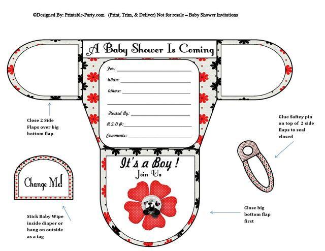 Cow Flower Boy Diaper Baby Shower Invites