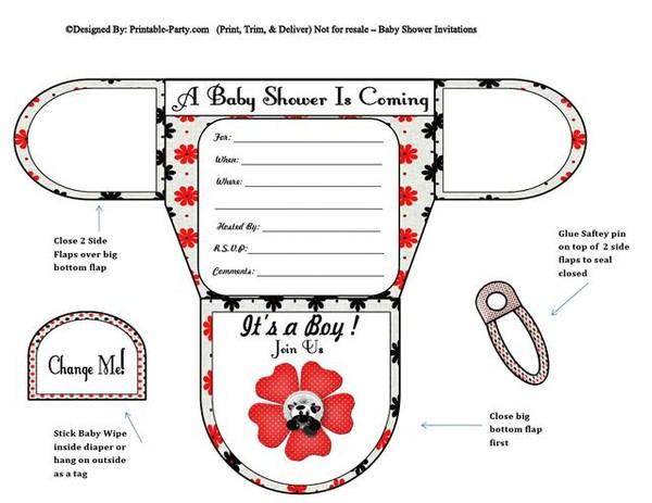 Cow & Flower Boy Diaper baby Shower Invites