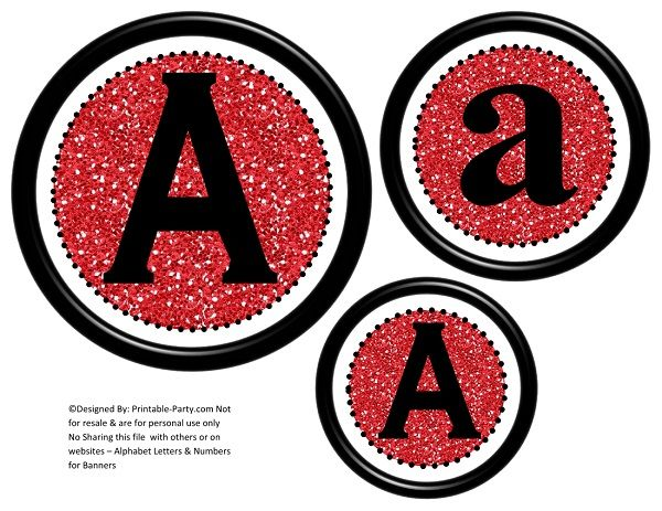 photograph relating to Printable Letters and Numbers titled 6-inch-black-crimson-glitter-circle-printable-banner-letters-quantities-a-z-0-9