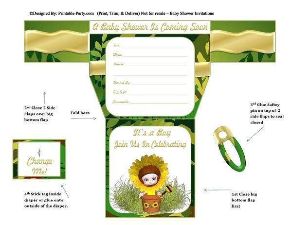 yellow-flower-green-gold-diaper-boy-baby-shower-invitations