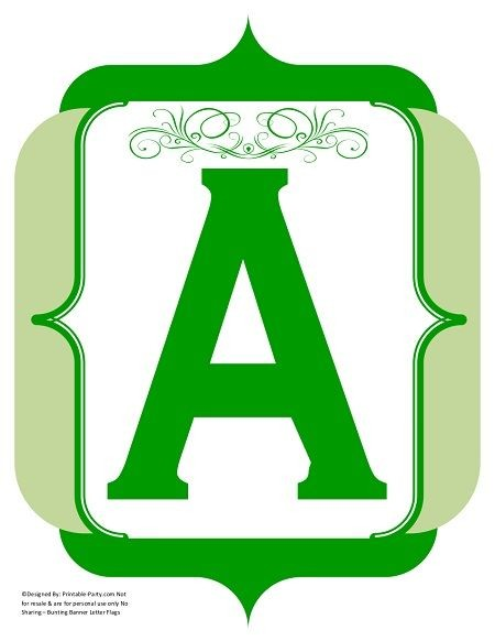 fancy-green-olive-printable-banners-letters-numbers