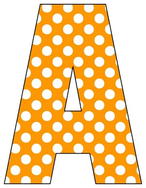 8X10.5  Inch Orange Polka Dot Printable Letters A-Z, 0-9