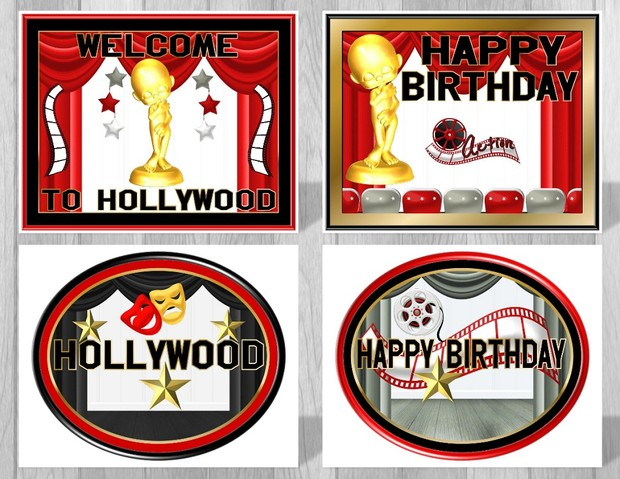 Printable Hollywood Movie Themed Party Supply