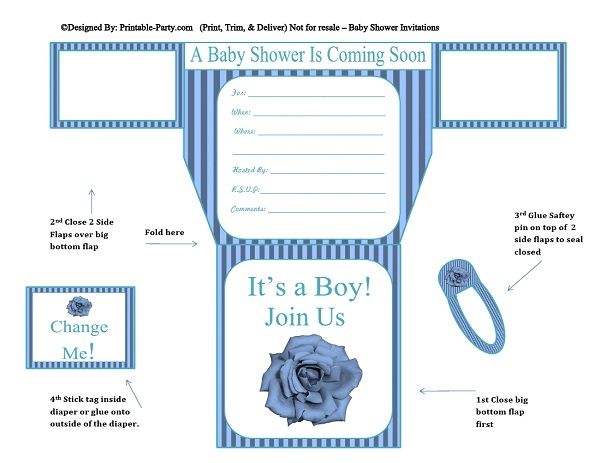 photo about Printable Baby Shower Invites referred to as blue-stripes-blue-flower-diaper-boy-printable-boy or girl-shower-invitation